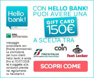 Promozioni Hello bank MyGiftCard