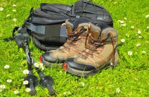 zaino da trekking e attrezzatura