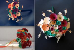 bouquet da sposa ecologici con fiori di carta