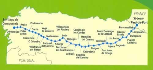 mappa cammino di santiago francese