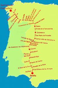mappa cammino di santiago ruta de la plata