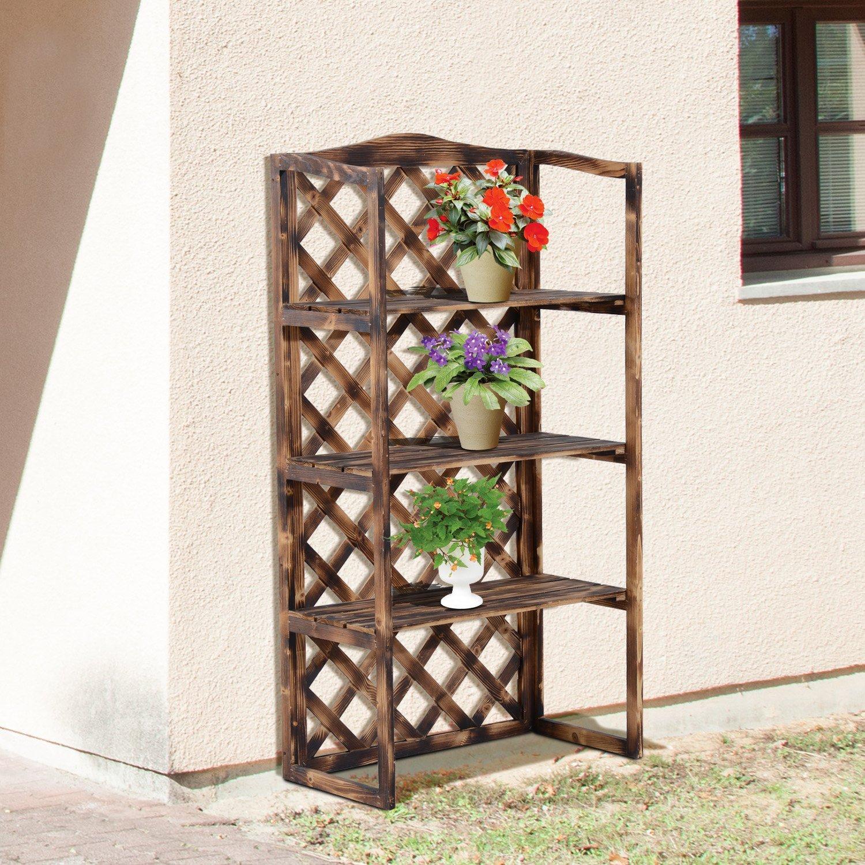 Porta piante da balcone a scaffale in legno - Porta piante da esterno ...