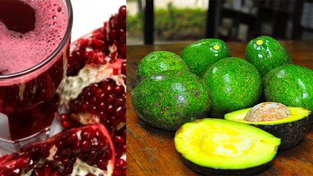 melograno, avocado, frutta di stagione di novembre