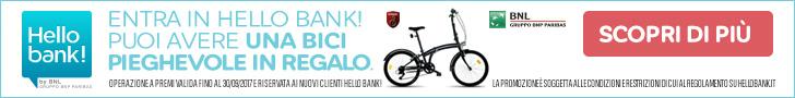 bici pieghevole promozione hello bank