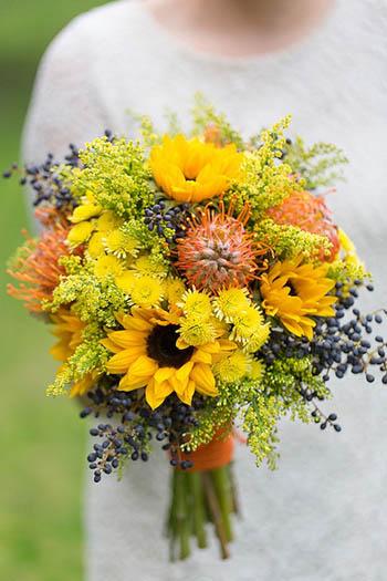 bouquet da sposa giallo rustico