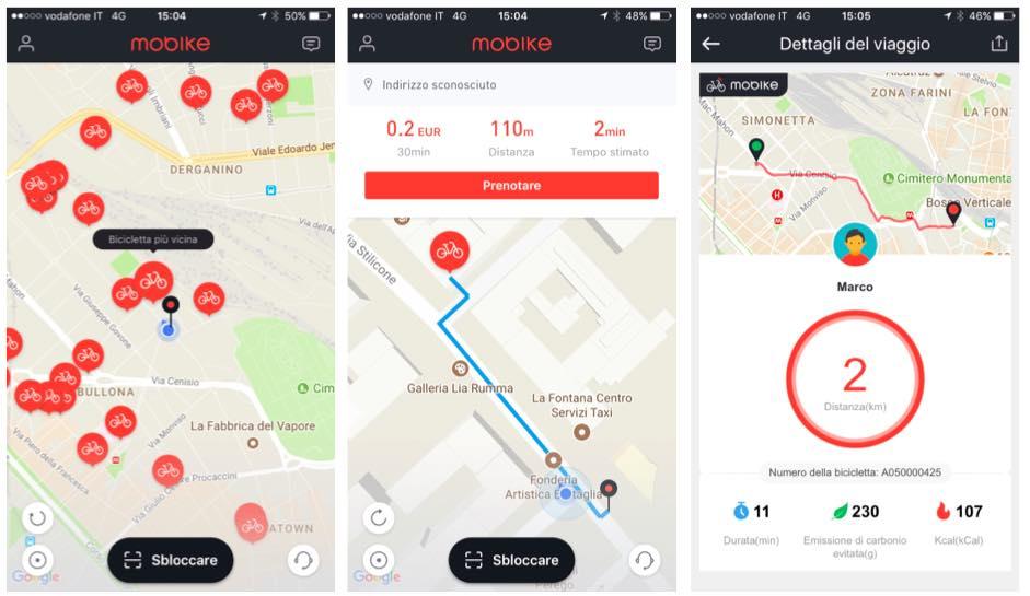 Applicazione Mobike Bike Sharing Screenshot