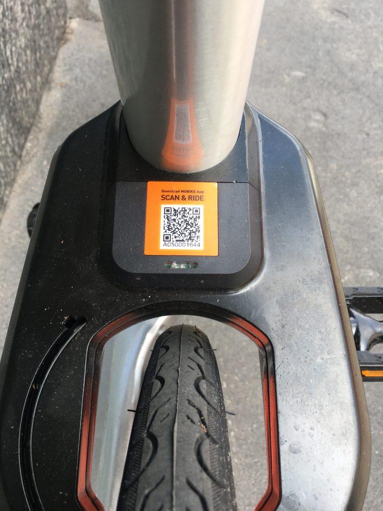 QR code presente sul telaio delle bici Mobike
