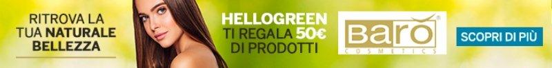Hellogreen ti regala 50€ di sconto in prodotti Barò Cosmetics.